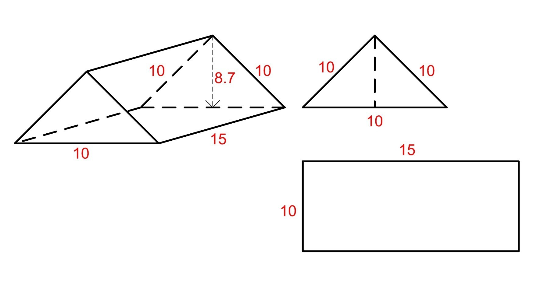 Brainly The Triangular Bases Of A Triangular Prism Have