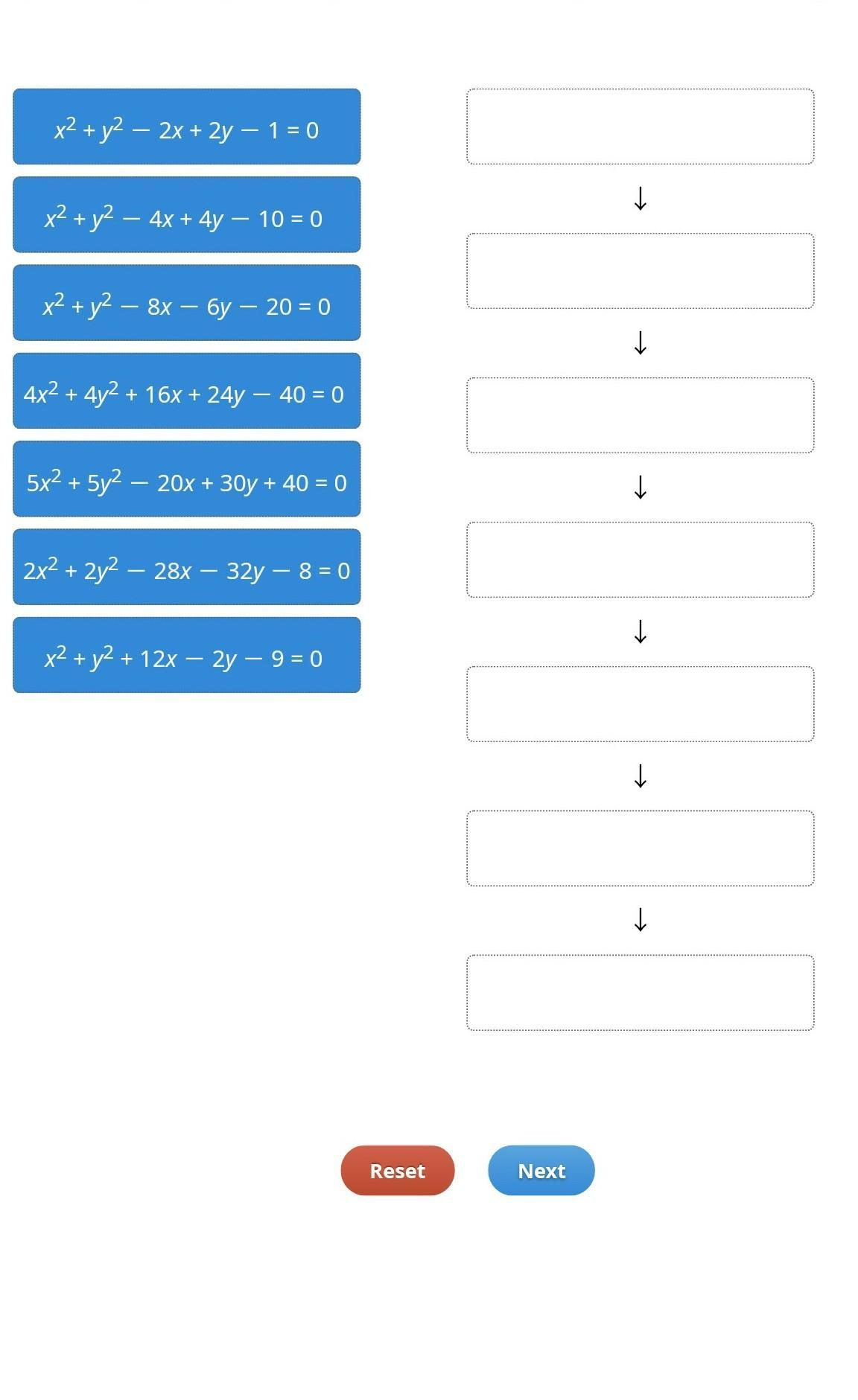 Arrange The Circles Represented By Their Equations In