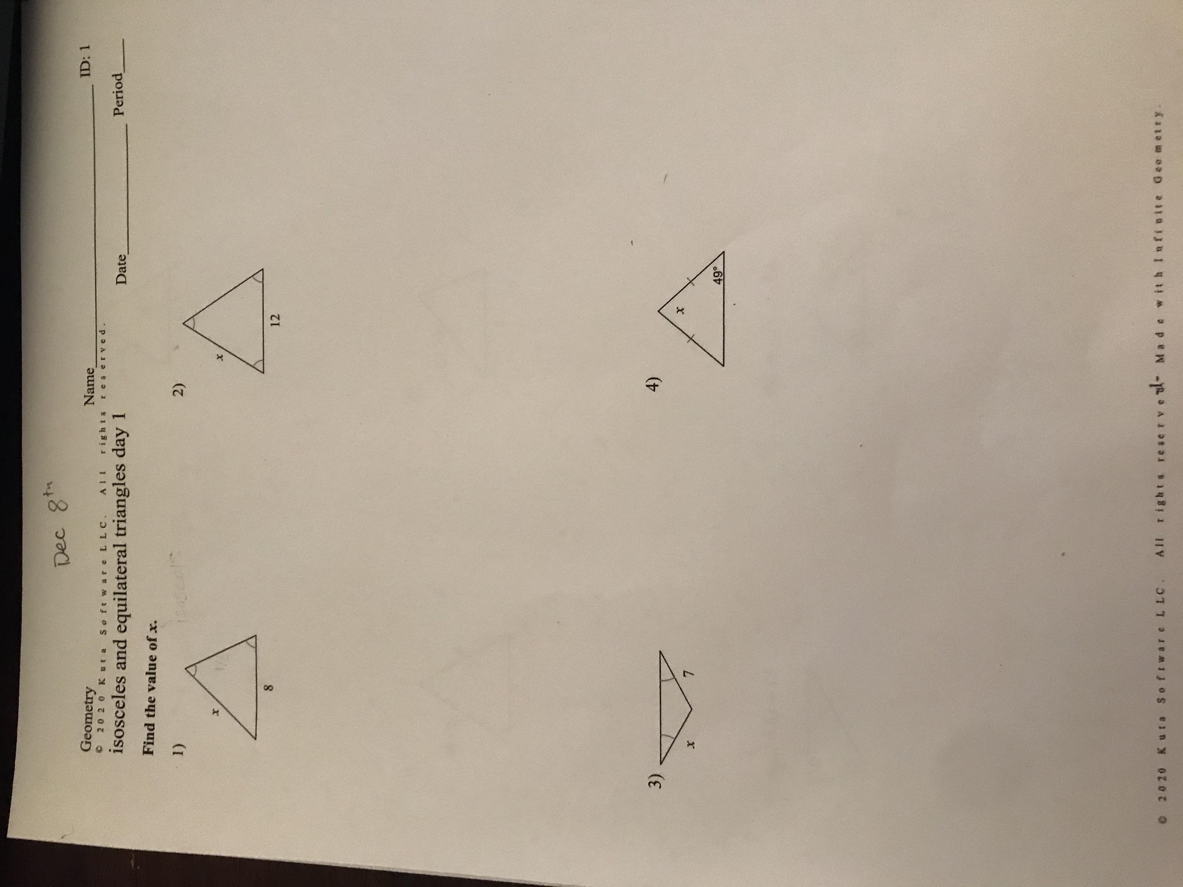I Need Help With This Worksheet Geometry Isosceles And