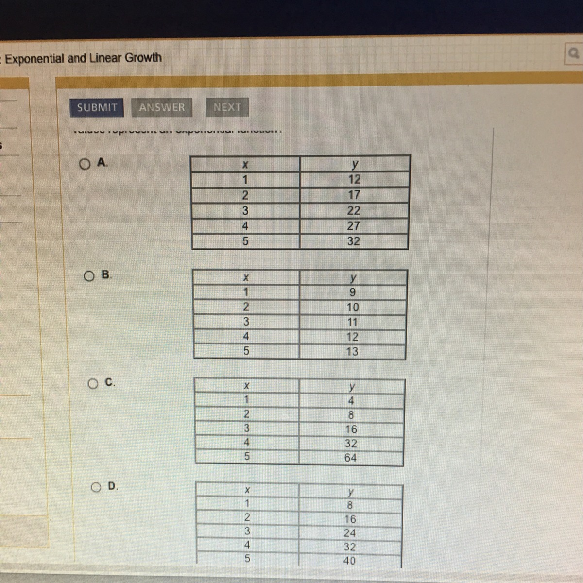 These Tables Represent Continuous Functions In Which