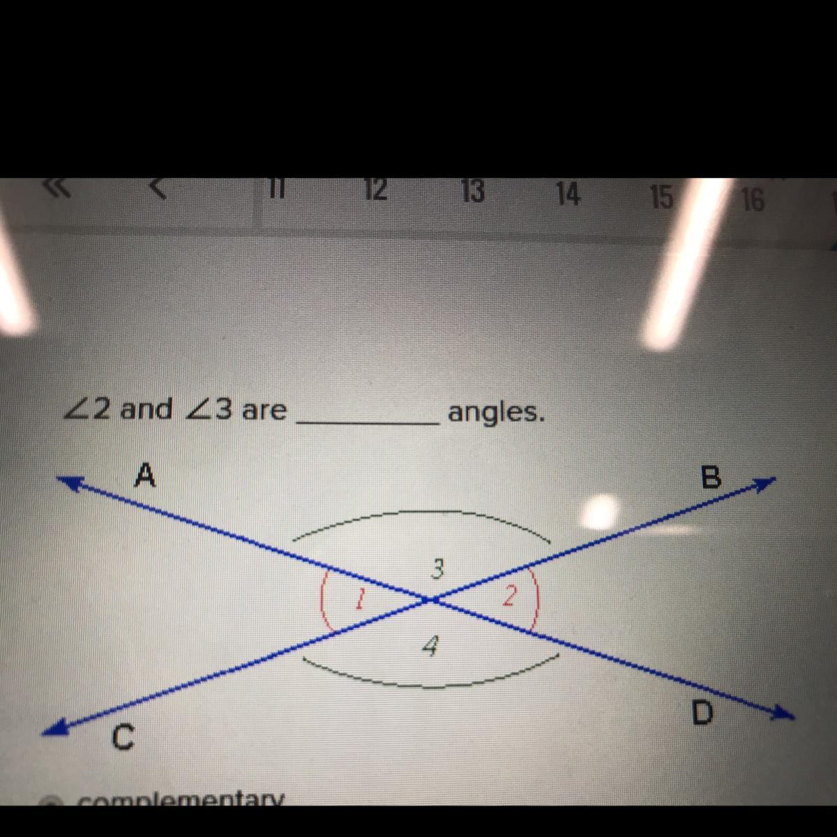 2 And 3 Are Angles Complementary Vertical Congruent