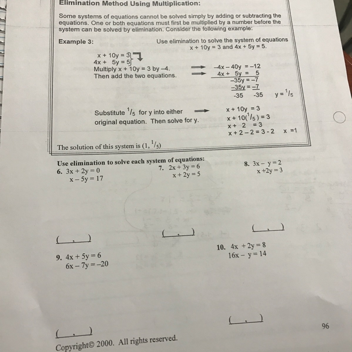 Solving Linear Systems Of Equations Addition Elimination