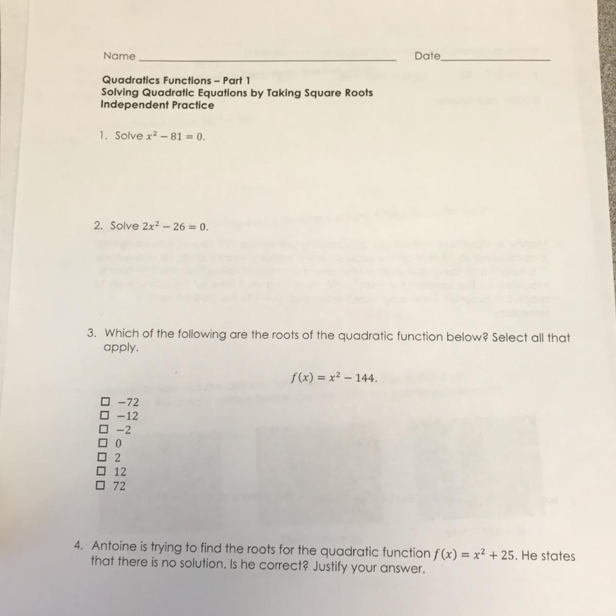 Solve Quadratic Equation X 4 81 0