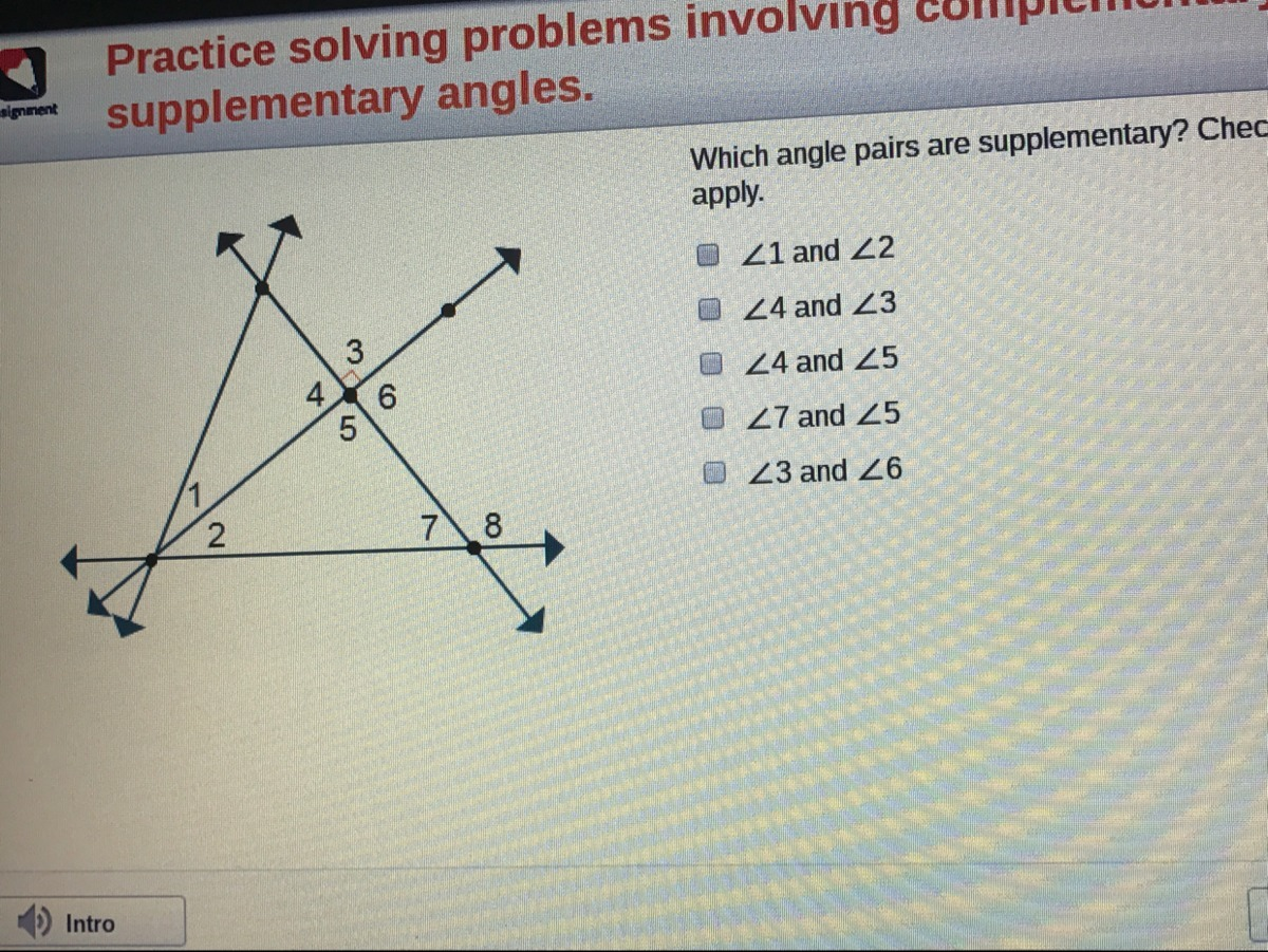 Which Angle Pairs Are Supplementary Check All That Apply