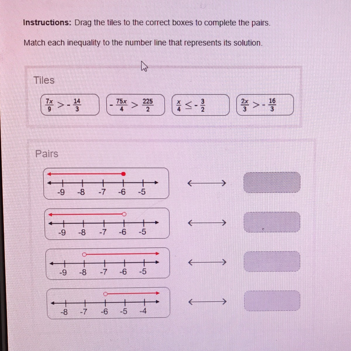 Match The Inequality To The Number Line That Represents