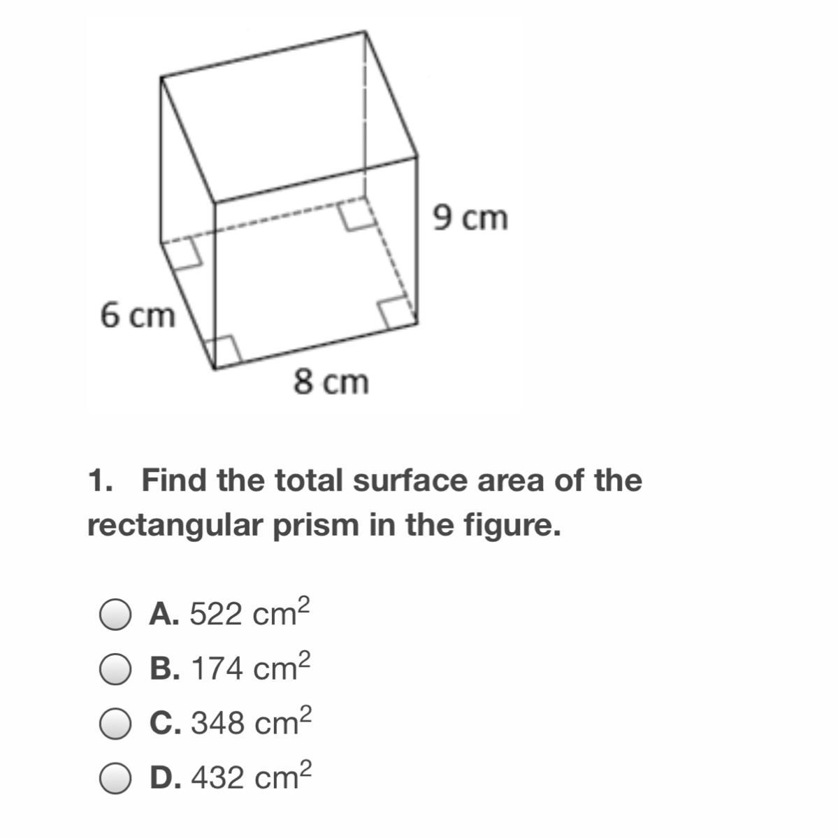 Find The Total Surface Area Of The Rectangular Prism In