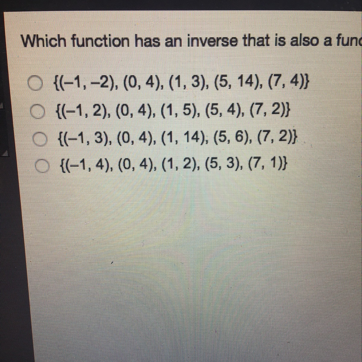 Which Function Has An Inverse That Is Also A Function