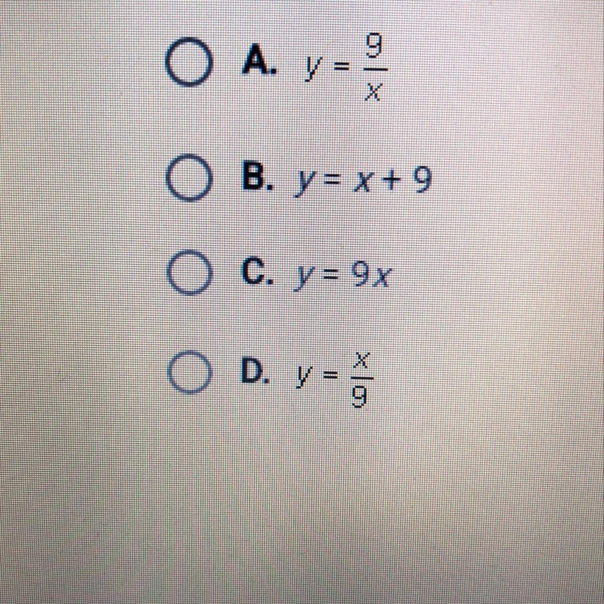 Which Of The Following Equations Is An Example Of Inverse