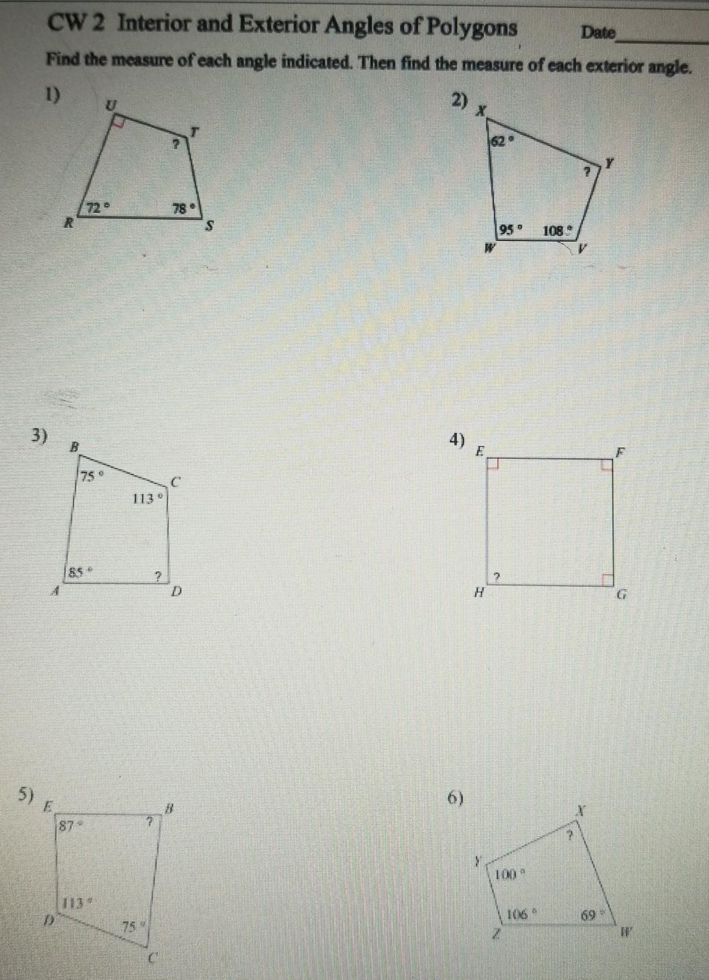 Find The Measure Of Each Angle Indicated Then Find The