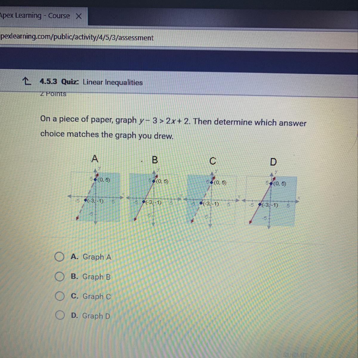 On A Piece Of Paper Graph Y 3 Gt 2x 2 Then Determine Which