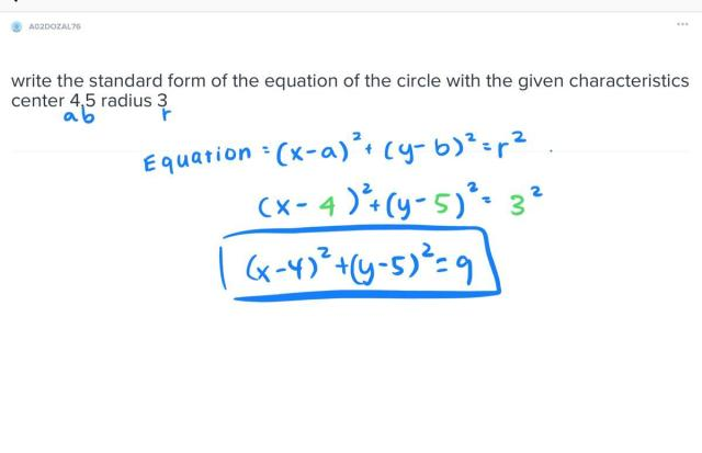 write the standard form of the equation of the circle with the