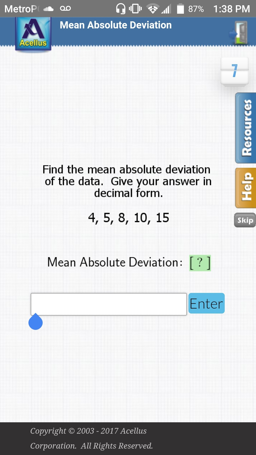 Find The Mean Absolute Deviation
