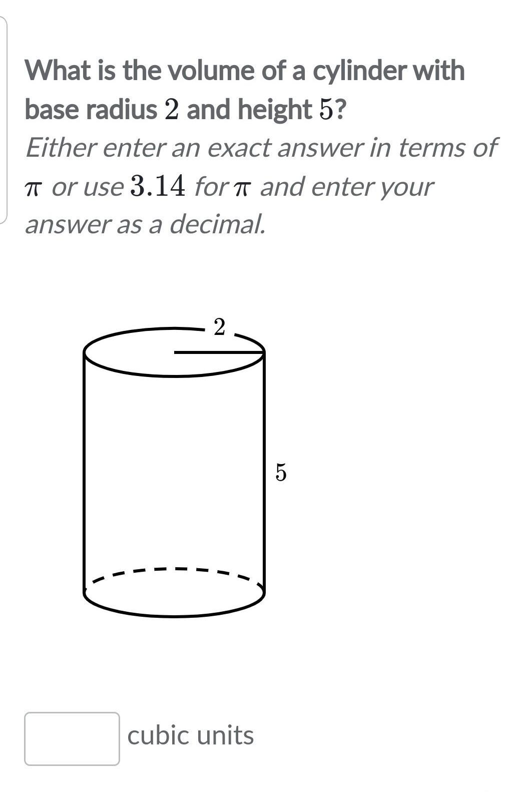What Is The Volume Of A Cylinder With Base Radius 2 And