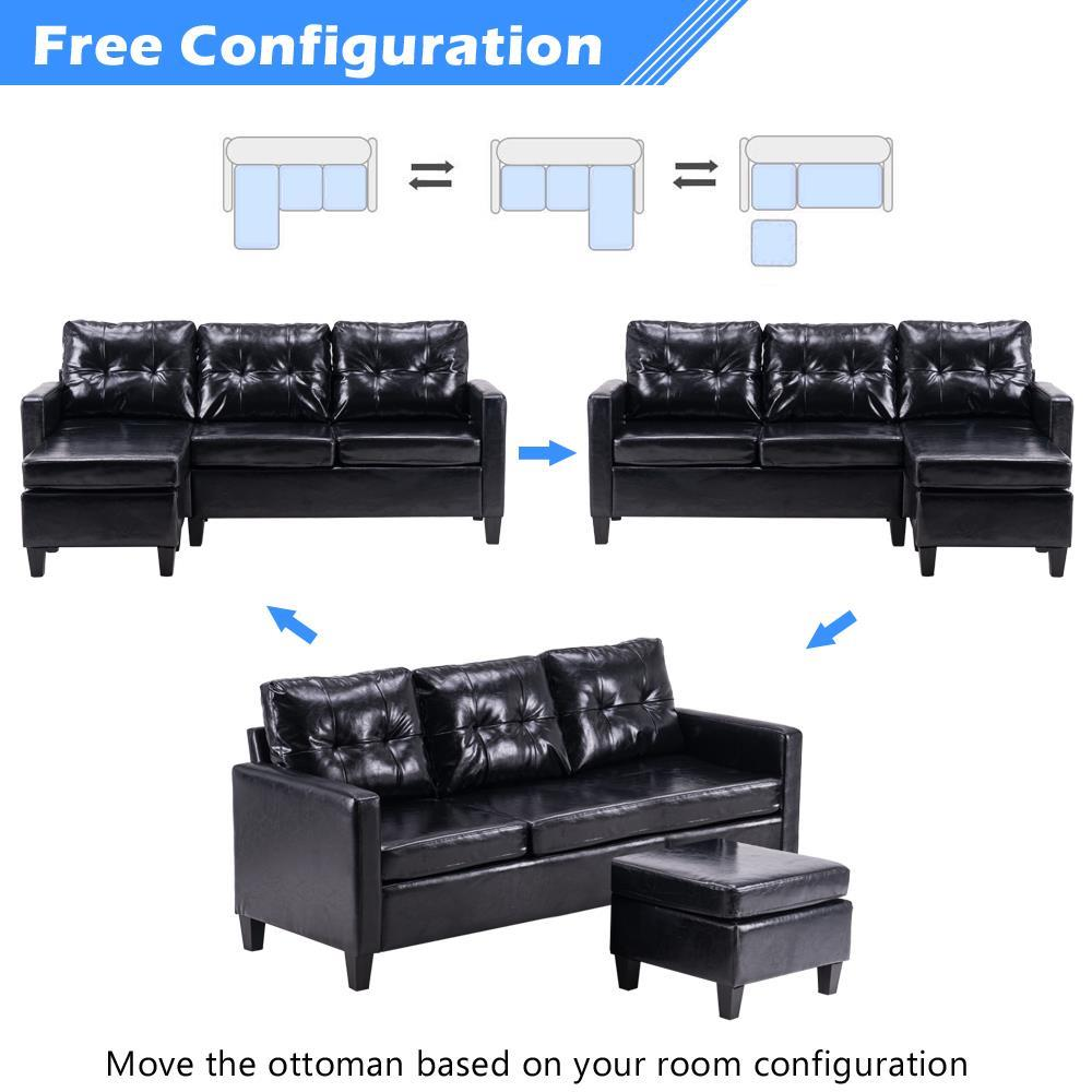 new pu leather sectional double chaise