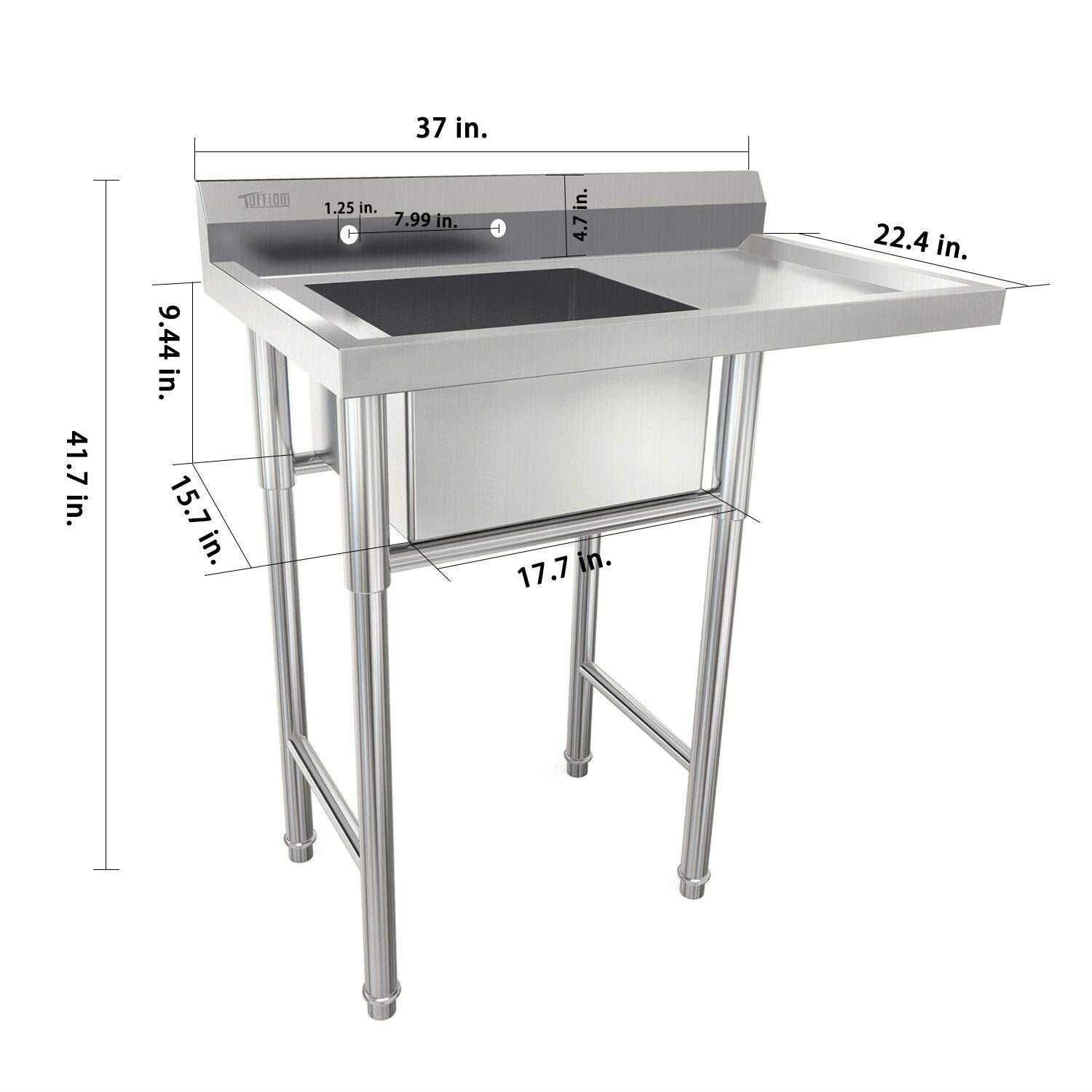 details about commercial utility 39 stainless steel sink silver for outdoor laundry room new