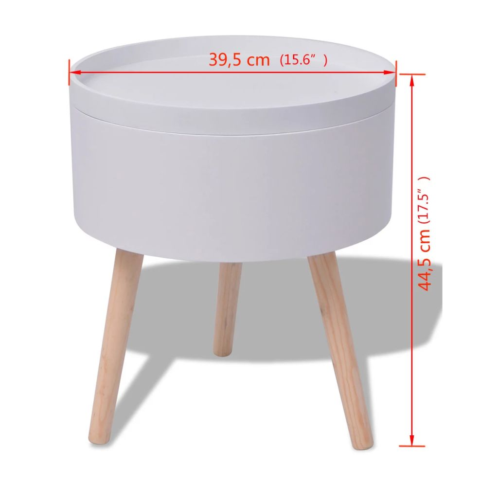 Details About Side Table W Serving Tray Round Storage Organizer Living Room Nightstand White