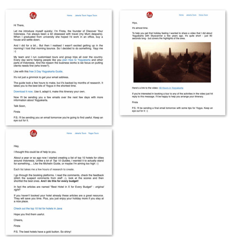 Welcome email sequence – drip campaigns.