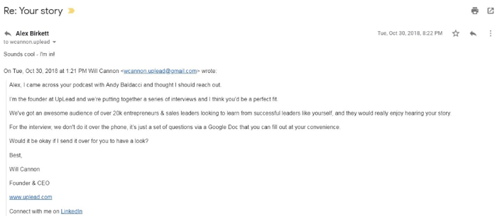 cold outreach marketing email-example.