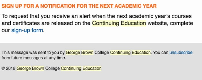 Email alert about upcoming university courses from George Brown University.