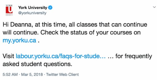 York University generic tweet.