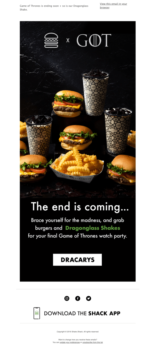Shake Shack and Game Of Thrones partnership newsletter