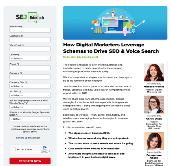 Search Engine Journal webinar landing page.