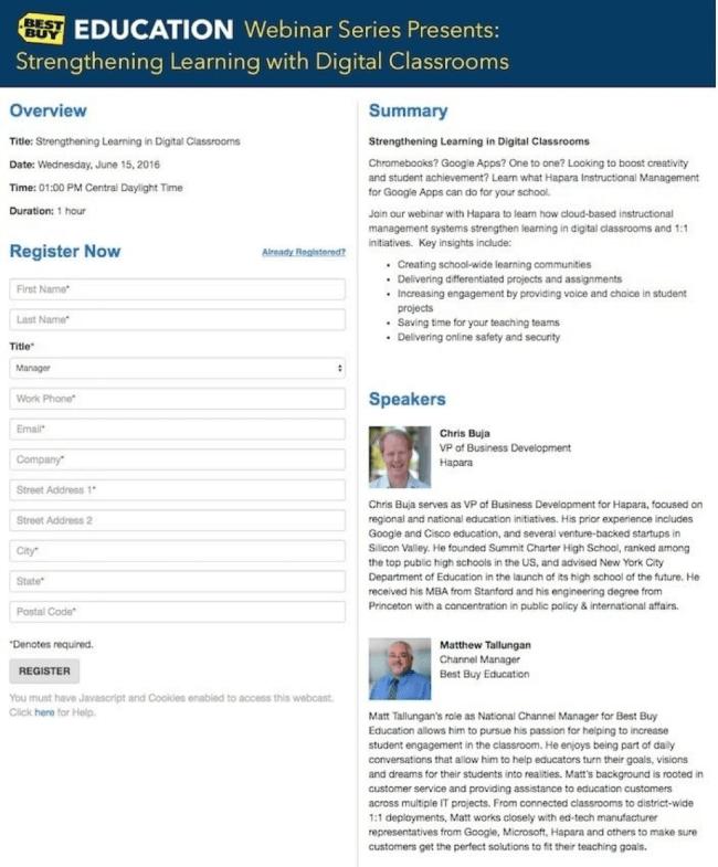 best buy webinar landing page.