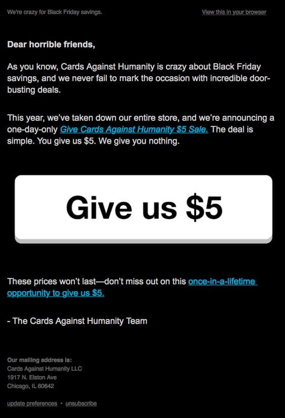 Cards Against Humanity Black Friday Special.