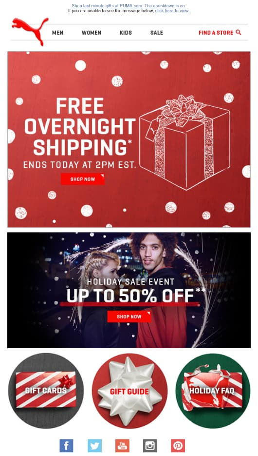 Puma free overnight shipping email offer for Christmas.