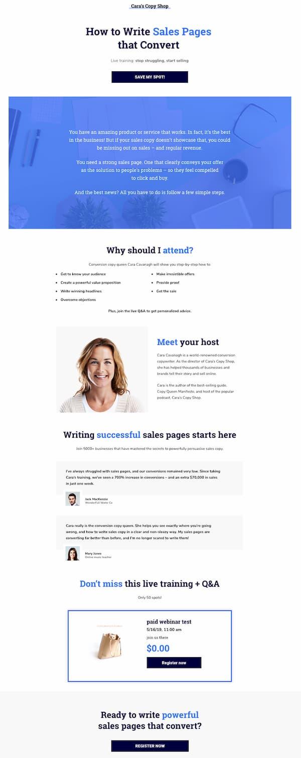 Пример страницы продаж платного вебинара.