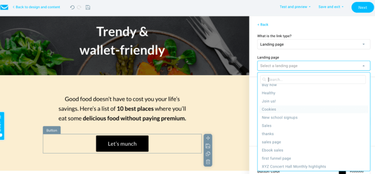 integration with landing pages and webinars