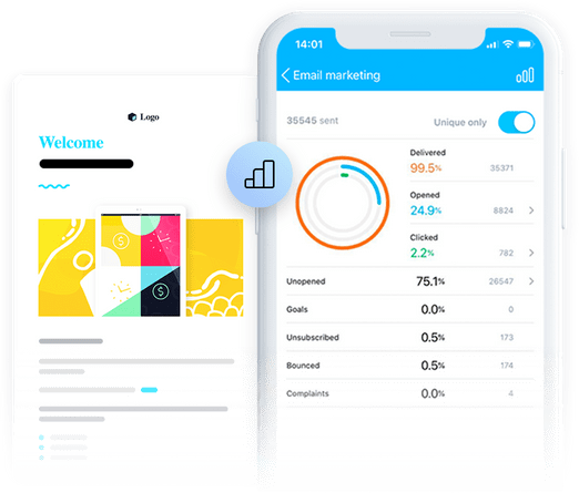 Email analytics reports in the GetResponse Mobile App.