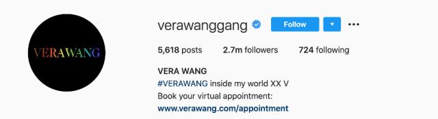 Les numéros Instagram de Vera Wang - un excellent exemple de marque personnelle.