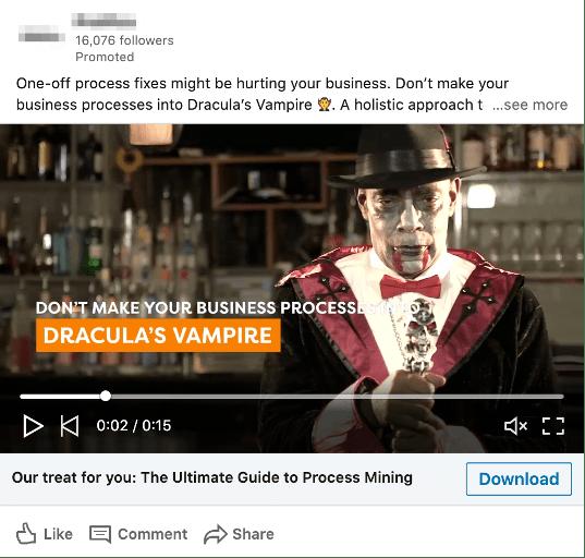 Publicité de contenu vidéo sponsorisé par LinkedIn.