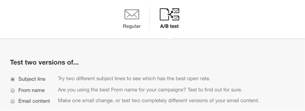 A/B testing the subject line.