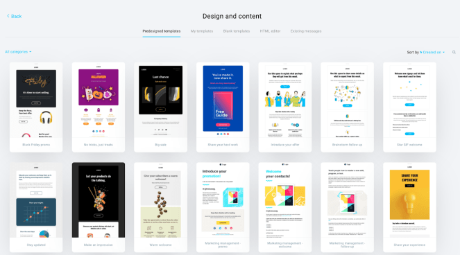 Predesigned email templates in GetResponse.
