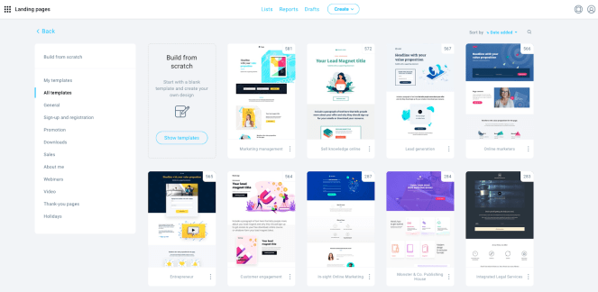 Landing page templates library.