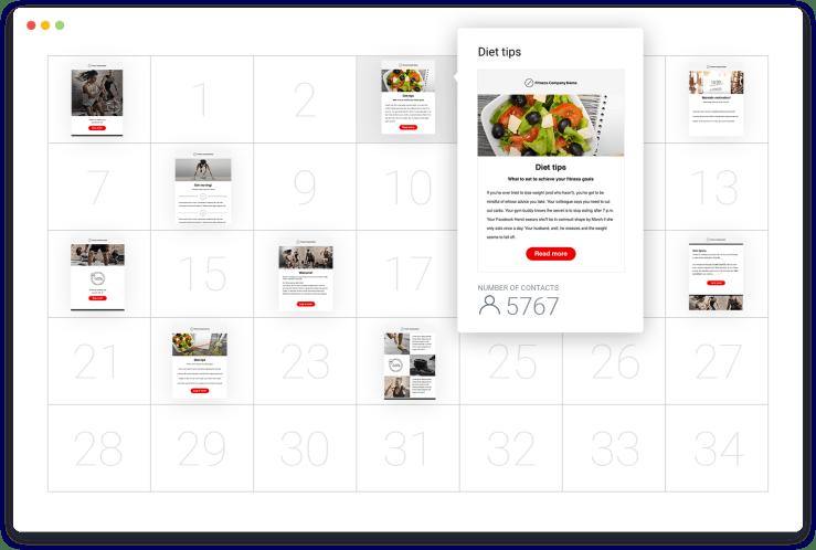 GetResponse Autoresponders - calendar view.