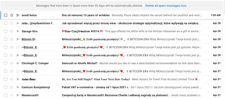 What the dreaded spam folder looks like for a Gmail user.