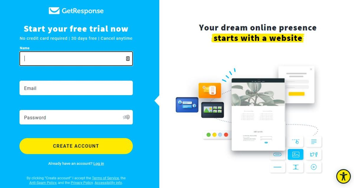 Starting a free trial.