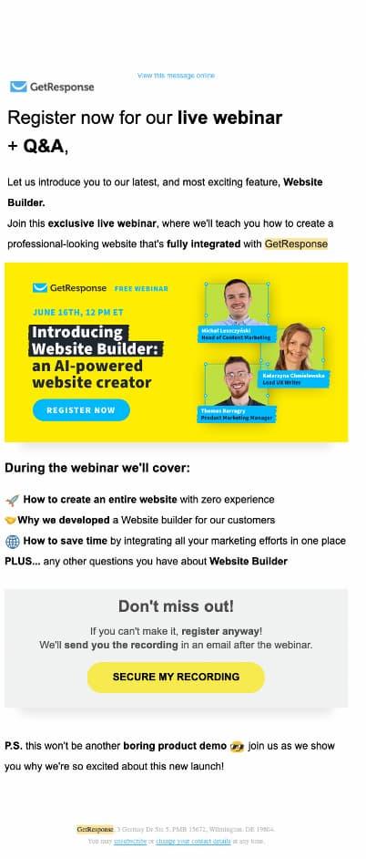 GetResponse vibrant webinar email invitation.
