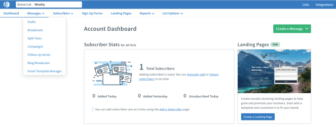 Image showing the AWeber dashboard.