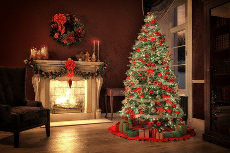 Christmas scene with tree gifts and fire in background. 3D rendering Stock Photo - 34048153