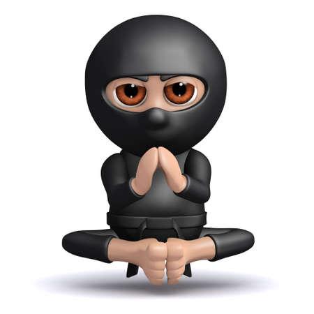 meditating ninja: 3d render of a ninja meditating