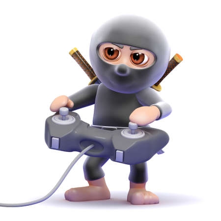 NINJA GAMER: 3d render of a ninja playing a videogame