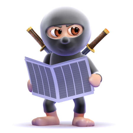 ninja reading: 3d render of a ninja assassin reading the newspaper Stock Photo