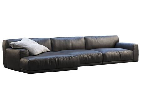modern chaise lounge sofa black leather sofa with gray fabric pillow on white background mid century modern loft chalet scandinavian interior