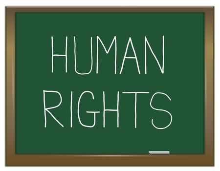 Illustration depicting a green chalkboard with a human rights concept written on it  Stock Illustration - 13085505