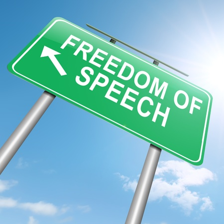 freedom protests: Illustration depicting a roadsign with a freedom of speech concept. Sky background. Stock Photo