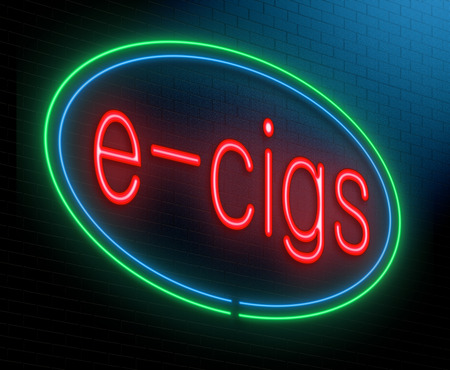 e cigarette: Illustration depicting an illuminated neon sign with an e-cigarette concept. Stock Photo